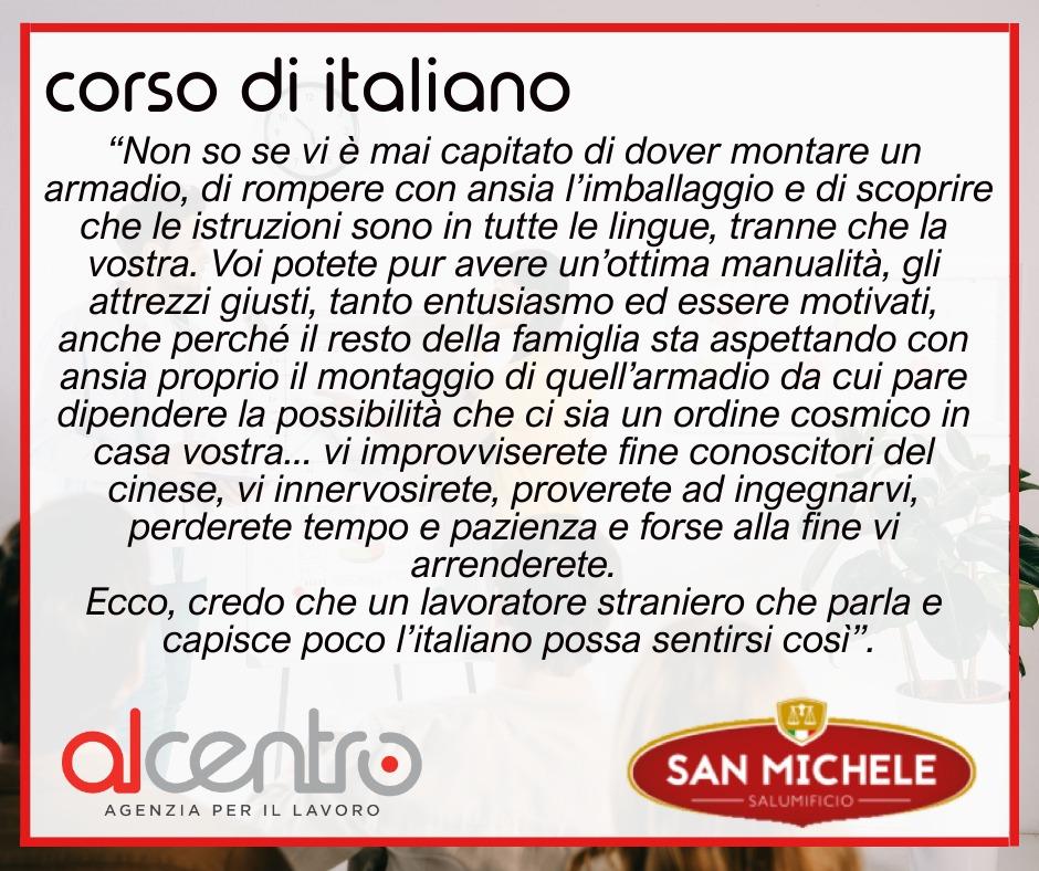 Corso di italiano aziendale Salumificio San Michele
